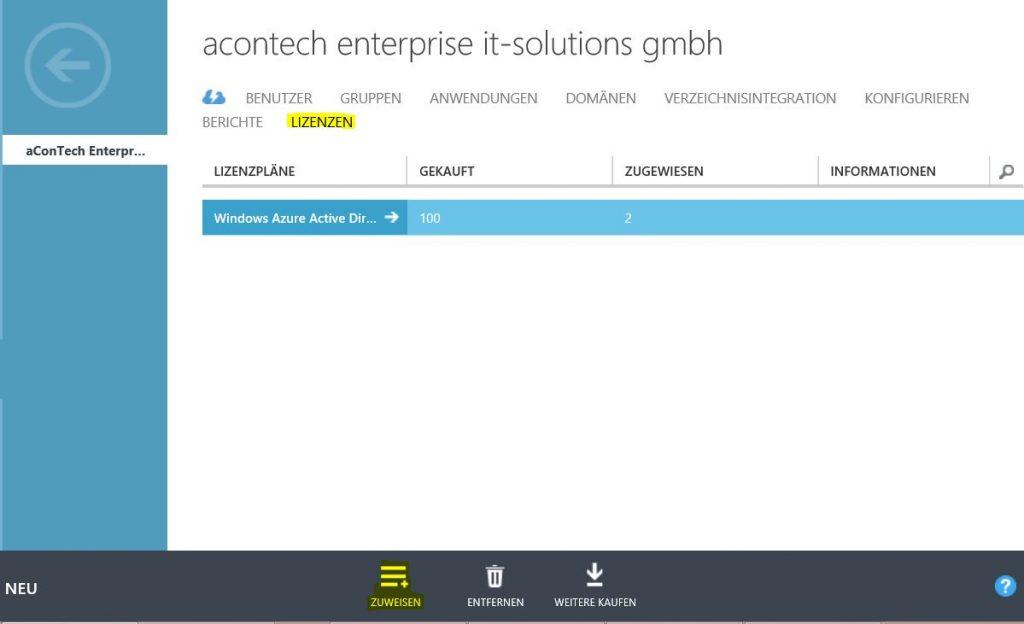 Azure Active Directory Premium Lizenzzuweisung