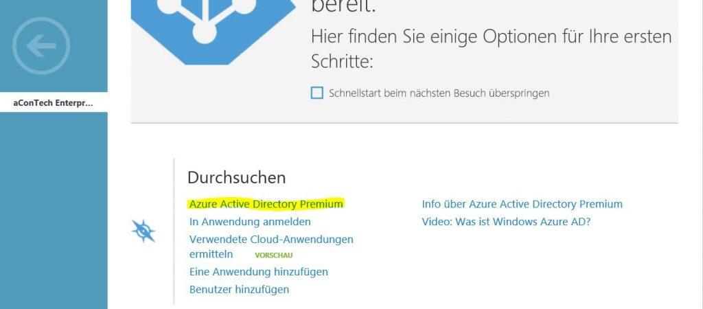 Azure Active Directory Premium aktivieren