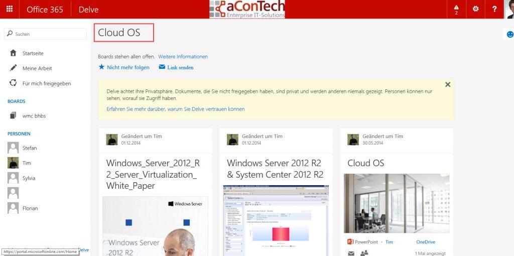Beim Öffnen des Boards Cloud OS sieht man dessen Inhalt im bekannten Delve Look